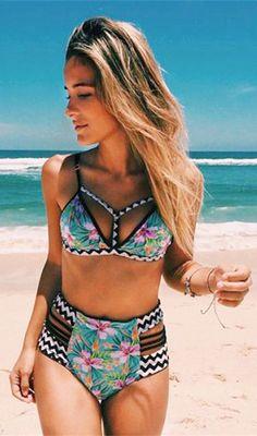 High Waisted Print Contrast Bikini