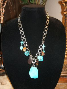 Chunky Turquoise Statement Charm Necklace by UniqueDesignsbyCK, $19.95