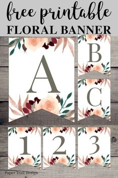 Fall Floral Alphabet Banner Letters Free Printable – Paper Trail Design – Come Back to School Arts And Crafts For Teens, Art And Craft Videos, Arts And Crafts House, Crafts For Kids, Free Printable Banner Letters, Printable Paper, Printable Birthday Banner, Floral Banners, Floral Letters