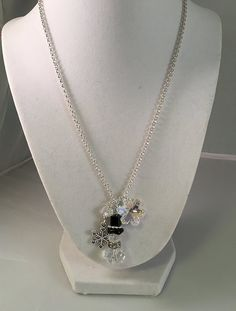 Holiday Pendant Style Charm Necklace with Crystal Glass Snowman, Pewter Snowflake and Swarovski Crystal Snowflake => Awesome product. Click the image : Handmade Gifts