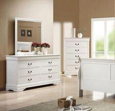 Coaster Furniture - Louis Philippe White Dresser and Mirror Set - Furniture, Dresser With Mirror, Coaster Furniture, Wildon Home, White Dresser, Furniture Shop, Recycled Furniture, Shabby Chic Furniture, White Bathroom Furniture