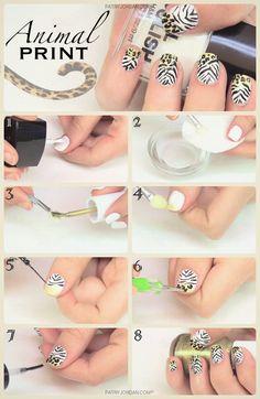DIY: Diseño de uñas animal print paso a paso. Hazlo tu misma de una manera muy fácil y rápida con la ayuda de una púa.