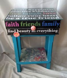 Bright Blue Table with Decoupage Box Top by CraftyGalBoutique, $65.00