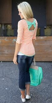 Striped Roll Up Sleeve w/ Bow Back