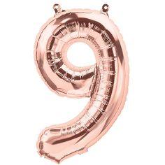 """Ballon anniversaire chiffre """"9"""" cuivré - 40 cm (rose gold)"""