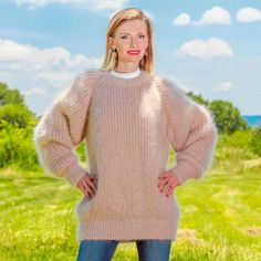 BEIGE Hand Knitted Sweater Fuzzy Ribbed Mohair Woolly Mens Pullover SuperTanya #SuperTanya #Crewneck