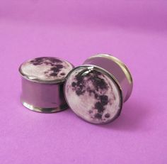 Moon picture plugs gauges embedded resin filled by NerdalieCreates, $15.00