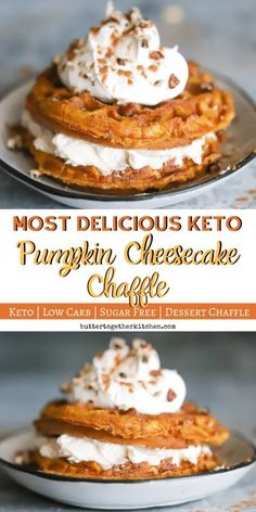 Just in time for Fall, this Keto Pumpkin Cheesecake Chaffle has all of your favorite Fall flavors! Enjoy the season with this mouthwatering, easy to make treat. Sweet keto pumpkin chaffle has a delicious layer of cheesecake filling in between! Keto Friendly Desserts, Köstliche Desserts, Sugar Free Desserts, Dessert Recipes, Dinner Recipes, Health Desserts, Frozen Desserts, Low Carb Sweets, Low Carb Desserts