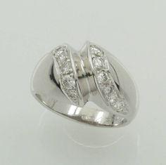 Ring mit Brillanten, WG 750/000, Brill. in 2 Reihen diagonal gef. zus. ca. 0.40 ct Weiß/p, RW ca. 54, Schätzpreis EUR 1750.-  ehemaliger Verkaufspreis 790,- €  jetzt 630,- €
