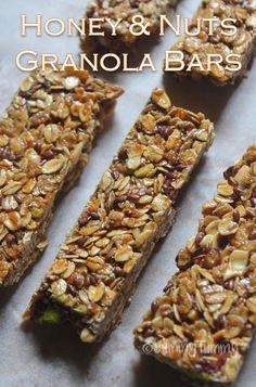 Honey Nut Granola Bars Recipe - No Bake Granola Bars Recipe - Yummy Tummy