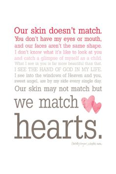 Items similar to We Match Hearts - Pink Ombre Typography Wall Art - Adoption Quote on Etsy We Match Hearts - Ombre Typography Wall Art - This just made my heart smile. If I ever adopt a kid, this is going in there room :) Mother Quotes, Daughter Quotes, Mom Quotes, To My Daughter, Wisdom Quotes, Daughters, Sister Poems, Sister Quotes, Smile Quotes