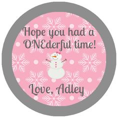 Birthday Favor Tag for aWinter ONEderland First Birthday Party Circles DIY…