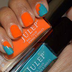 Zigzag nail art with Julep Nail Polish Kaylen & Lena, teal and orange