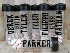 Personalized Baseball Water Bottles~ Team Gift~Custom Design to Match your Team Colors - pinned by p Baseball Treats, Baseball Gifts, Baseball Season, Baseball Mom, Baseball Stuff, Baseball Jerseys, Basketball Rules, Soccer, Baseball Equipment