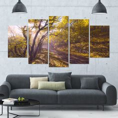 DESIGN ART Designart 'Bicycle Ride in Fall Forest' Landscape Wall Artwork on Canvas - 60x32 5 Panels
