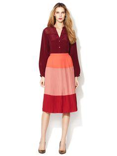 Desi Colorblocked Pleated Skirt by Corey Lynn Calter on Gilt.com