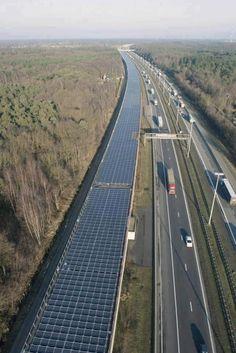 """'Solar Tunnel' to Power 4,000 trains annually!  Europe's first """"solar tunnel"""" is providing power to high-speed trains running between Paris and Amsterdam.  The 3.6-kilometer (2.2-mile) tunnel, built to protect trains from falling trees as they pass through an ancient forest near Antwerp, is covered with solar cells and could generate 3.3 MWh of electricity annually. That's equivalent to the average annual consumption of nearly 1,000 homes."""