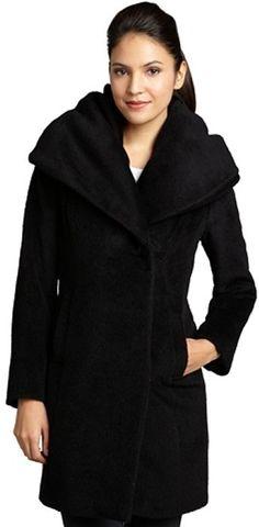 Elie Tahari black wool blend oversize collar 'Janine' coat