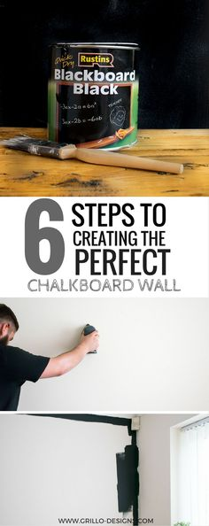 Easy Chalkboard Wall Tutorial - learn these 6 simple steps to creating the perfect chalkboard wall in your home. Tips and tricks included!