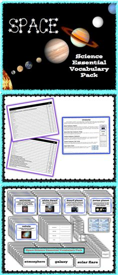 Science vocabulary is essential for building knowledge concepts. This pack contains 30, SPACE science terms, students need as they explore and deepen their understanding in the area of Space science. This printable pack contains full color, illustrated Space Vocabulary Posters, SPACE Word Wall Words, Note Taking Tools, Student Space Flashcards, Space Task Cards and a Space File Folder Game. The complete set contains 80 pages and will be a valuable time saver. $