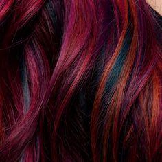 Galaxy Hair Color, Vivid Hair Color, Bright Red Hair, Hair Color Purple, Hair Color And Cut, New Hair Colors, Colourful Hair, Hair Cut, Color Pop