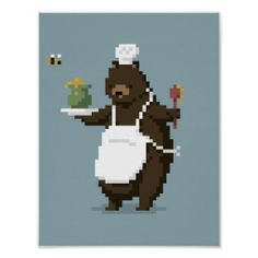 Bear Chef Pixel Art Poster