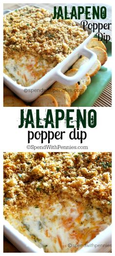 Jalapeno Popper Dip appetizer: Creamy, cheesy and just a little bit spicy, this is sure to be loved by everyone! Yummy Appetizers, Appetizer Recipes, Snack Recipes, Cooking Recipes, Dishes Recipes, Mexican Appetizers, Avacado Appetizers, Prociutto Appetizers, Halloween Appetizers