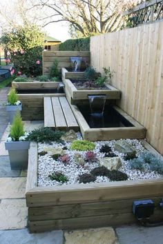Water features in the garden, Garden seating, Small garden design, Small patio decor, Garden landsca Backyard Water Feature, Modern Water Feature, Diy Water Feature, Walled Garden, Water Features In The Garden, Small Water Features, Small Garden Design, Garden Ideas For Small Spaces, Small Garden On A Budget