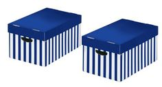 Nips 31.0 X 52.0 X 24.5cm Store-box Storage Boxes With Lid - Blue/ White (pack Of 2)