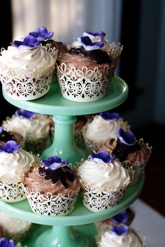 Love the wrapping on these cupcakes- Purple foil underneath with the lacy bits outside. Beautiful!