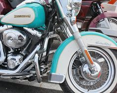 Turquoise Teal  Harley Davidson Motorcycle