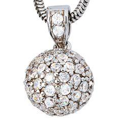 Anhänger Kugel 925 Sterling Silber rhodiniert mit Zirkonia rundum Schmuck kaufen #silberanhänger#kugelanhänger  http://ebay.to/2hiOlvy