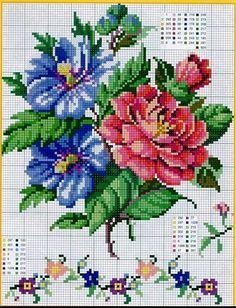 Fleurs stitch by rosalyn Cute Cross Stitch, Cross Stitch Rose, Cross Stitch Flowers, Cross Stitch Charts, Cross Stitch Designs, Cross Stitch Patterns, Cross Stitching, Cross Stitch Embroidery, Hand Embroidery