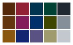 This is pretty close to the color palette I was thinking -- except with less blue in the greens and more blue in that top red.  (And throw in a chocolate brown).