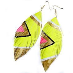 Neon Aztec - Butter Yellow - Faux Leather Feather Earrings