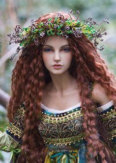 """Carina"" (Martha Boers doll) as Spring Goddess ""Brygid of the Wildwood."" Brygid is also the Celtic Goddess of Inspiration & Healing. Clay Dolls, Bjd Dolls, Doll Toys, Barbie Dolls, Barbie Clothes, Pretty Dolls, Beautiful Dolls, Enchanted Doll, Realistic Dolls"