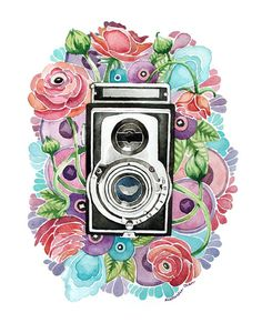Vintage Camera and Flower Painting - Original Watercolor 11x14
