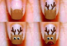 Get into the spirit of the season and dress those nails with the cutest colours and Christmas nail art ideas, here are a few nail art designs to choose from. Nail Art Noel, Xmas Nail Art, Cute Christmas Nails, Christmas Nail Art Designs, Holiday Nail Art, Xmas Nails, Simple Christmas, Christmas Christmas, Thanksgiving Nail Designs