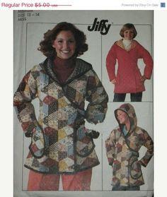 Sale- Vintage Simplicity 7651, Misses Unlined Hooded Jacket, size 12-14, bust 34-36, 1976
