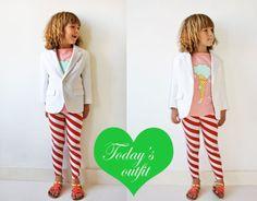 white blazer + candy cane pants