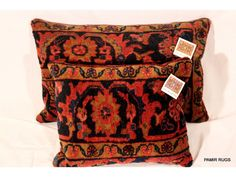 Persian Lilihan rug pillow $350 pair ‼️see link for description  ⬇️.                              ⬇️ ---------inventory, $, comps, retail price, comps, textiles rug pillows, comps, fabric LK, textiles LK, similar merchandise, FFG, antique textile, pillows, retail price ⬇️ Pair of handmade pillow made out of Antique Persian Lilihan rug,