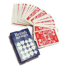 Vintage British Airways Playing Cards Deck- Airline Souvenir Memorabilia- 1980s Version Blue Box Red Print Deck- Made in England by PinkFlyingPenguin
