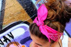 Love her hair! pretty updo for short hair Bandana Hairstyles, My Hairstyle, Down Hairstyles, Pretty Hairstyles, Pink Hairstyles, Bandana Updo, Hairstyle Ideas, Love Hair, Gorgeous Hair