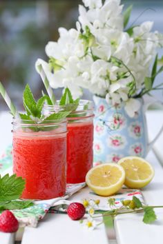 Fresh Pressed Strawberry Lemonade for my casual dockside cabana luncheon in Florida today ` great drink to take on the boat , too.