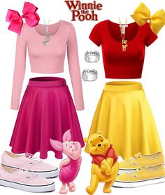 Pooh & Piglet created by on ShopLook.io perfect for Any event. Visit us to shop this look. Disney Bound Outfits Casual, Cute Disney Outfits, Disney Dress Up, Disney Themed Outfits, Teen Fashion Outfits, Cute Outfits, Skirt Outfits, Disney Halloween, Cute Group Halloween Costumes