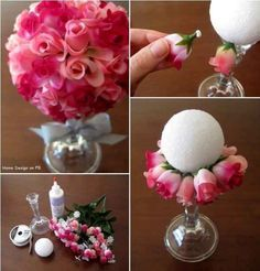 Holy moly, it's a ball made of flowers! (Styrofoam is magic.) You could hang these for parties, or have them sit atop a vase. | 14 Floral Arrangement Hacks That Are Simply Divine