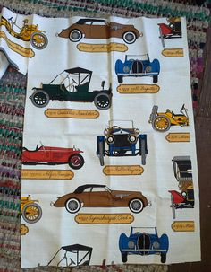 Vintage Fabric Remnant Cars Ford Rolls Cadillac by xanaduvintage, $14.00