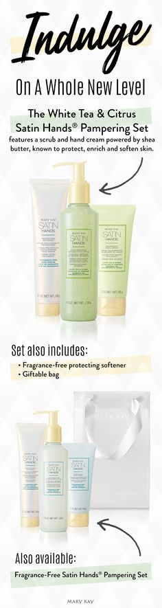Experience the bliss! Fragrance-Free Satin Hands® Pampering Set revitalizes and rejuvenates the look of hands, so they feel renewed and instantly look healthier. | Mary Kay
