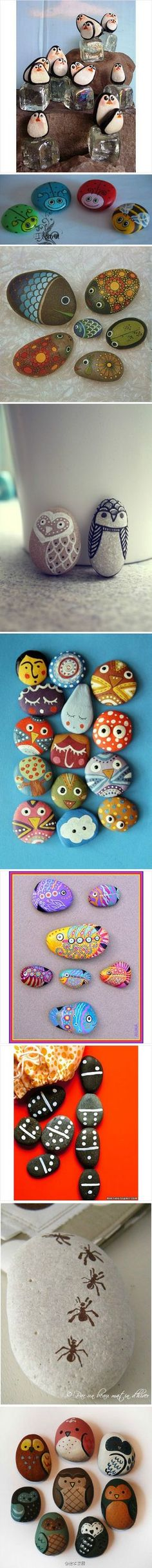 painted pebbles: would look great in the flower beds.  A place to show off the kids art!