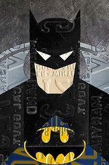Superhero Prints - Batman The Dark Knight Portrait Superhero Recycled License Plate Art Print by Design Turnpike